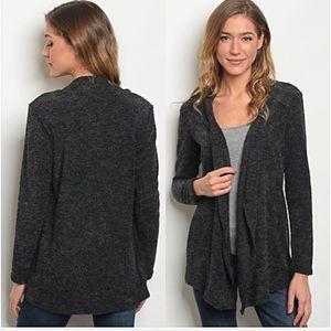 Draped Charcoal Gray Cardigan Sweater L
